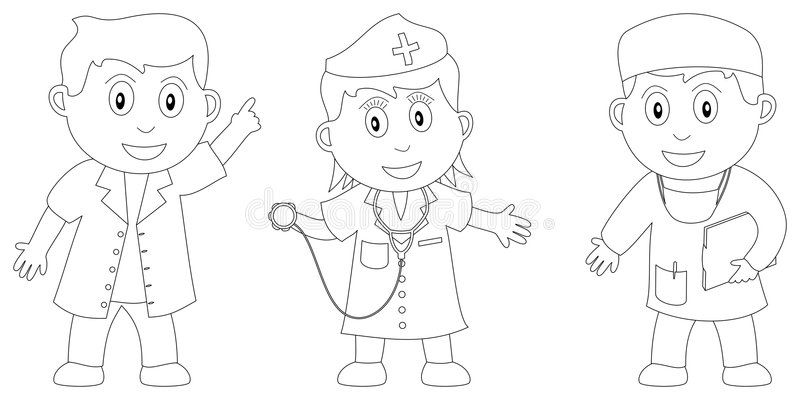 Coloring Book For Kids 6 Three Kids Two Doctors And A Nurse In Black And Wh Spon Kids Doctors K Coloring Books Kids Coloring Books Coloring Pages
