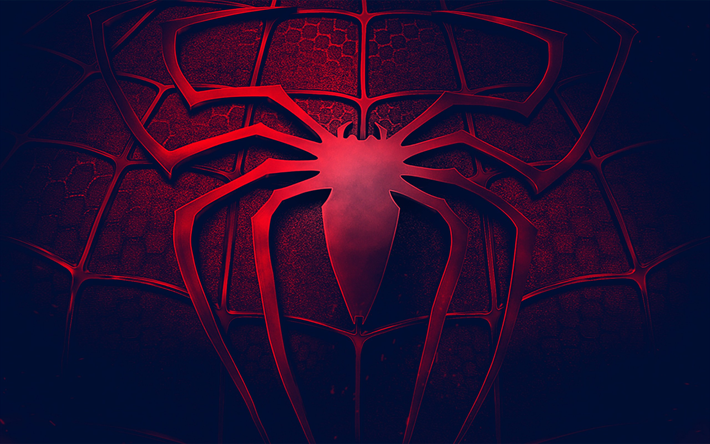 Download Wallpapers Spider Man Logo 3d Art Darkness