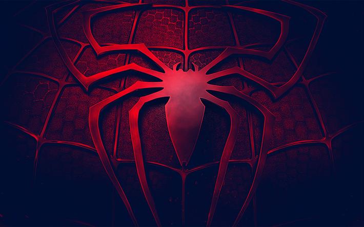 Download wallpapers SpiderMan, logo, 3d, art, darkness