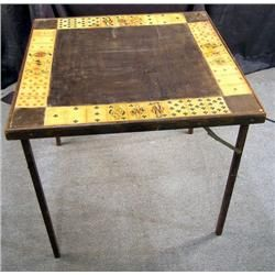 Old Folding Card Table Showing Playing Cards Com Imagens Mesa