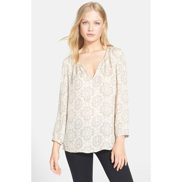 Joie 'Zambezi' Butterfly Print Silk Blouse ($161) ❤ liked on Polyvore featuring tops, blouses, vanilla, white silk blouse, butterfly print blouse, silk blouses, layered blouse and butterfly top