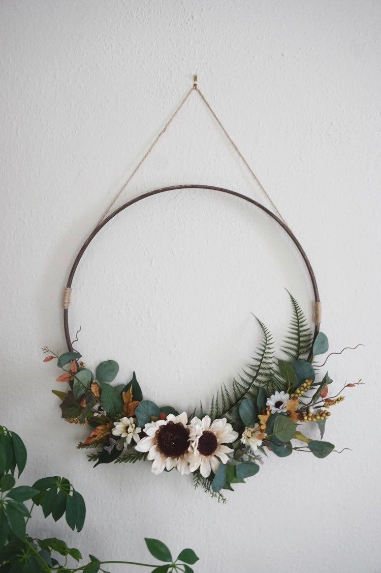 Photo of Large Wreath, Minimalistic Wreath Wall Hanging, Autumn Wall Decor, Modern Wreath, Wall Hanging