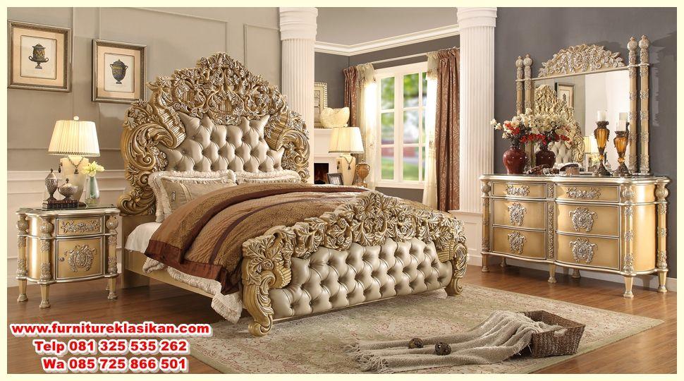 Set Tempat Tidur Ukiran Klasik Desain Set