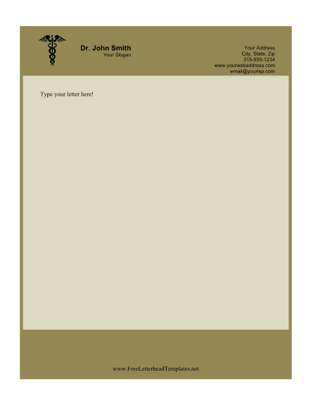 This printable doctor letterhead features the caduceus for Doctors letters templates
