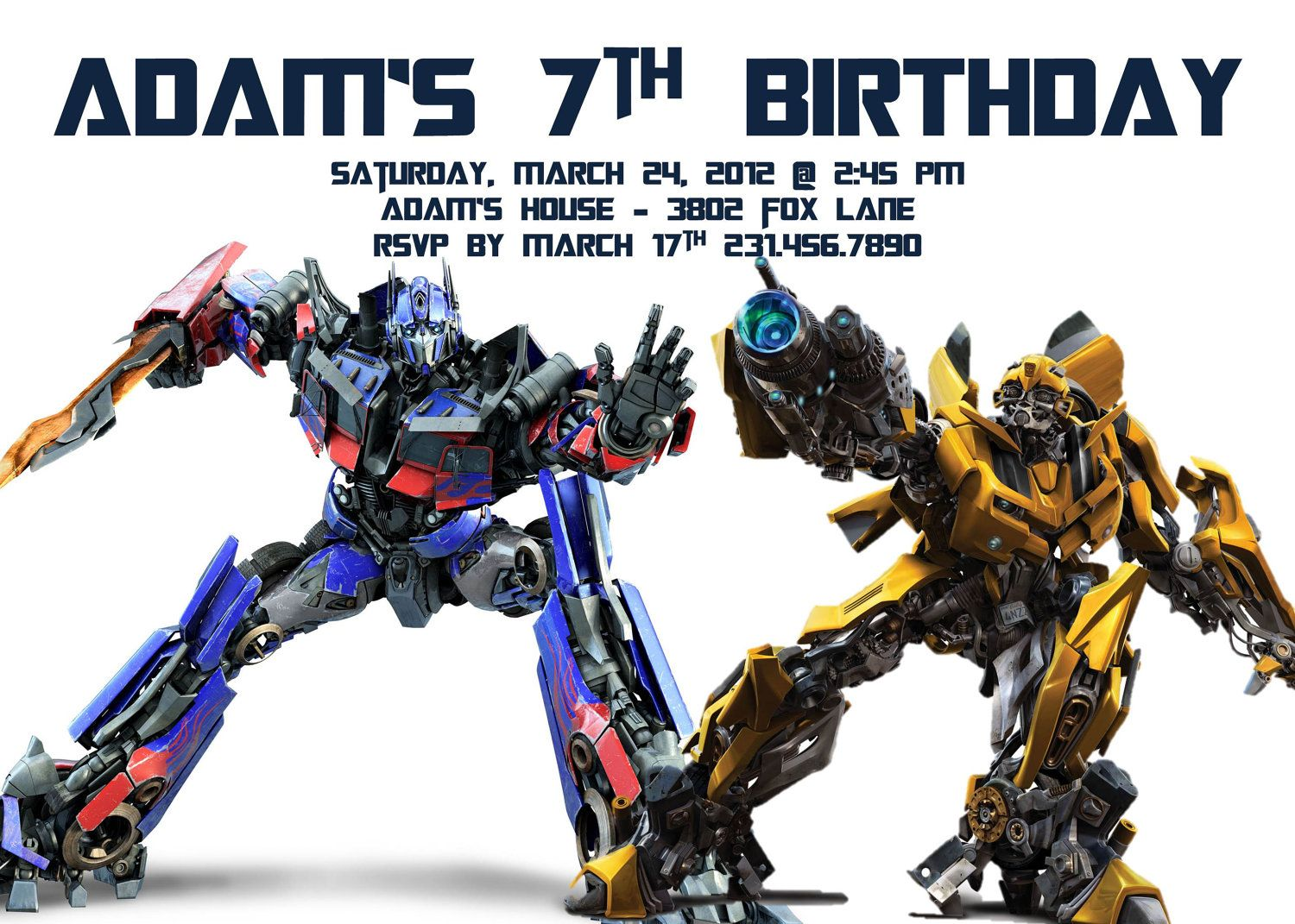Transformers Birthday Invitation Template Party Alistairs 5th