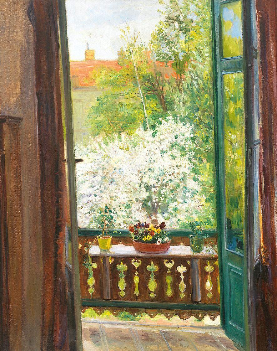 Henrik c nordenberg 1857 1928 view through open door for Open balcony