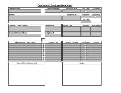 Employee Data Sheet Table | Arc Notebook And Free Printable
