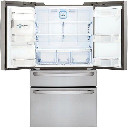 Best Buy Lg 22 7 Cu Ft Counter Depth 4 Door French Door Refrigerator With Thru The Door Ice And Water Stainless Steel Lmxc23746s French Door Refrigerator French Doors Counter Depth
