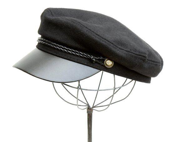 dbc388019 Greek Fisherman's Cap, Fiddler's Cap, Black Wool Cap, Women's Cap ...