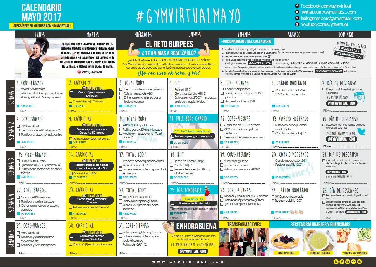 Calendario Septiembre Gymvirtual.Ayuda Deporte Ejercicios Core Ejercicios De Cardio Y