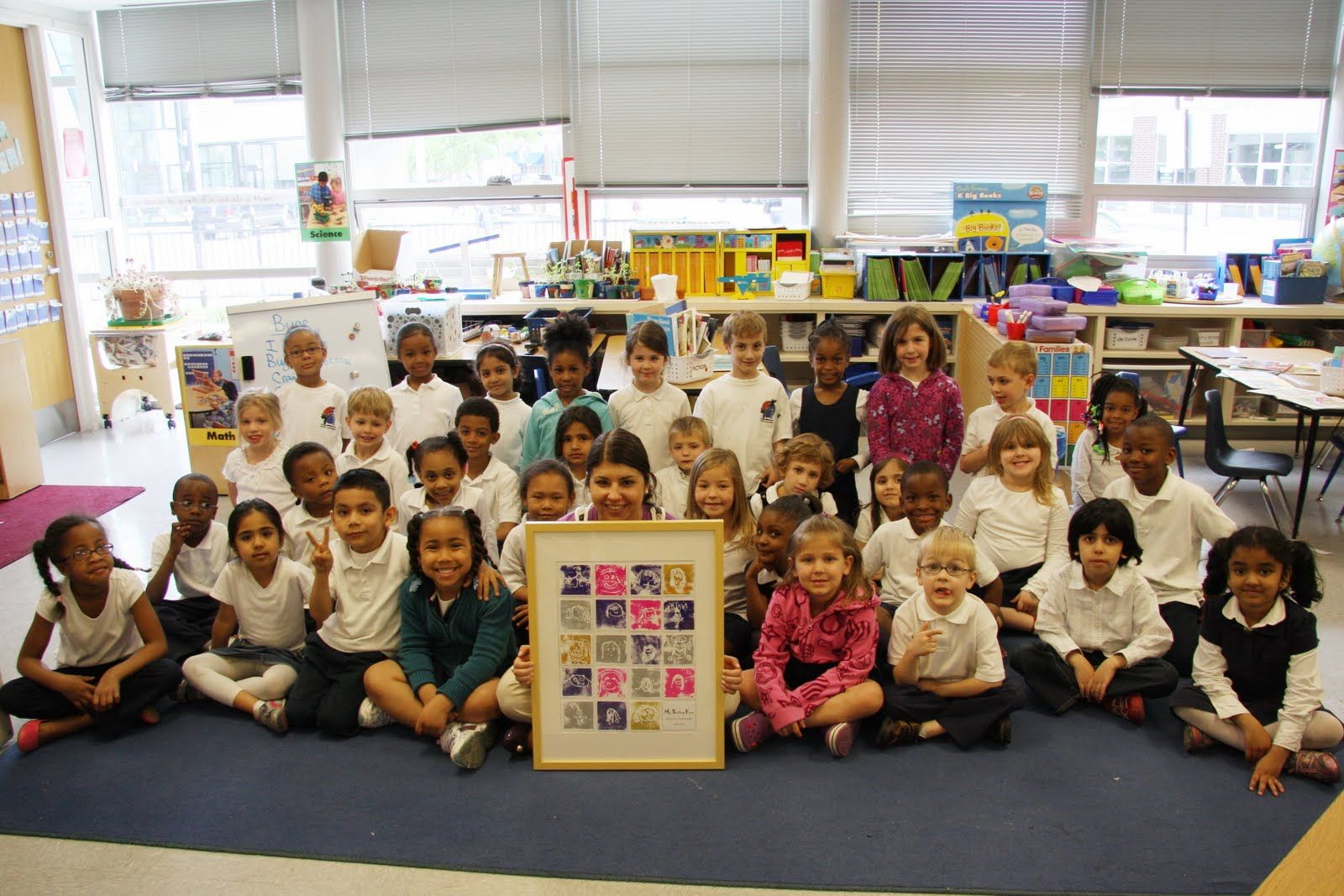 1st grade photo wall school auction art projects