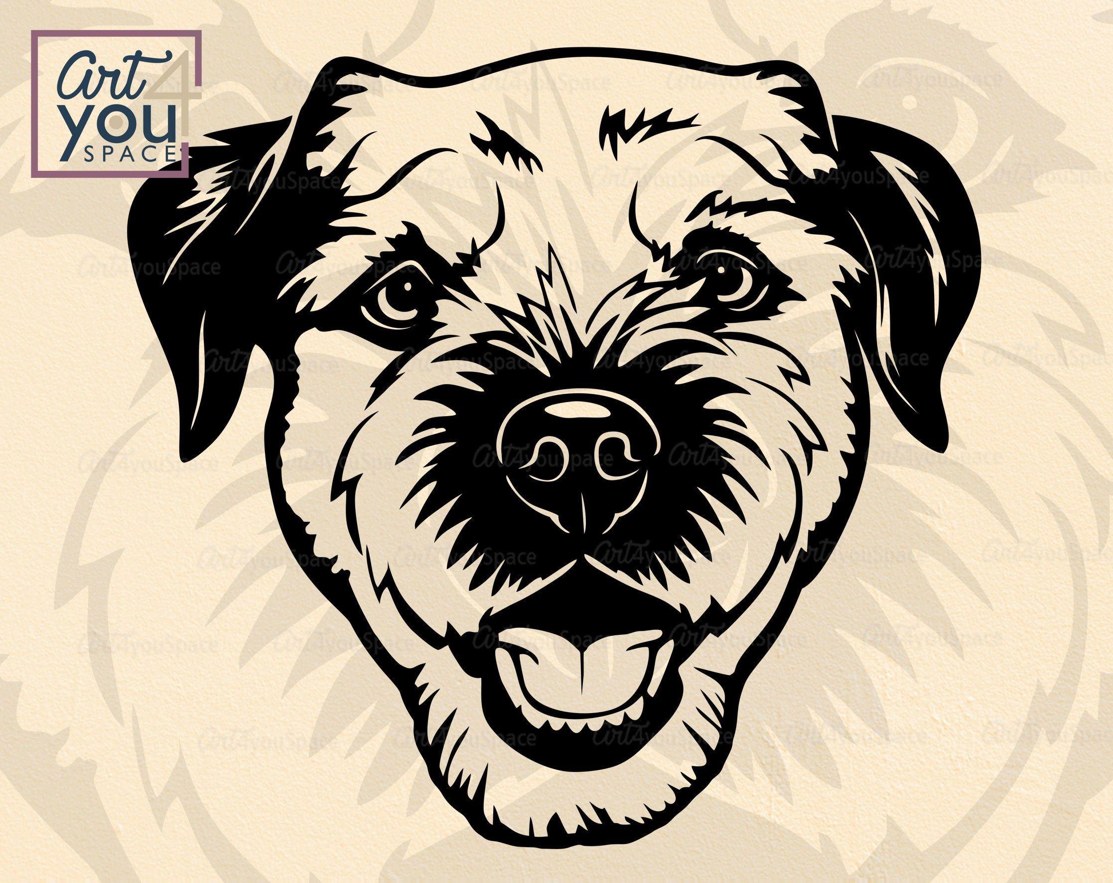 Border Terrier Dog Svg Files For Cricut Face Head Vector Etsy Terrier Border Terrier Pet Portraits