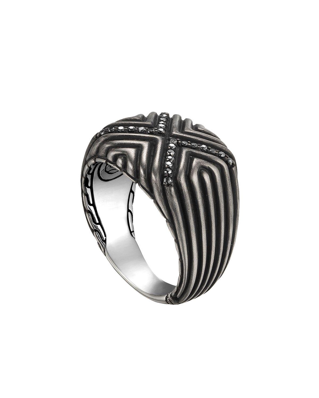 John Hardy Mens Lava Black Sapphire Ring, Size 10