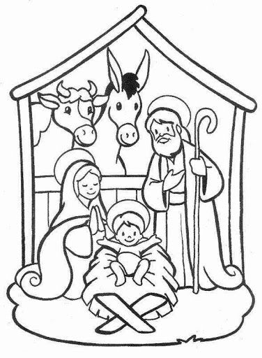 Nativity scene, christmas, coloring pages | Sunday School | Nativity ...