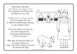 Nursery Rhyme Mary Had A Little Lamb Coloring Sheets Nursery