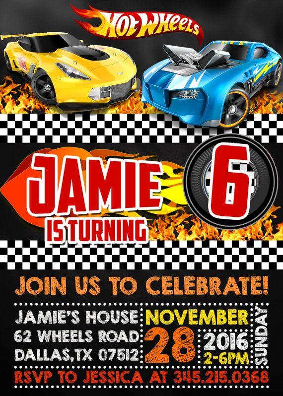 Hot Wheels Birthday Invitation Hot Wheels Digital Printable - Hot wheels birthday invitation how to make