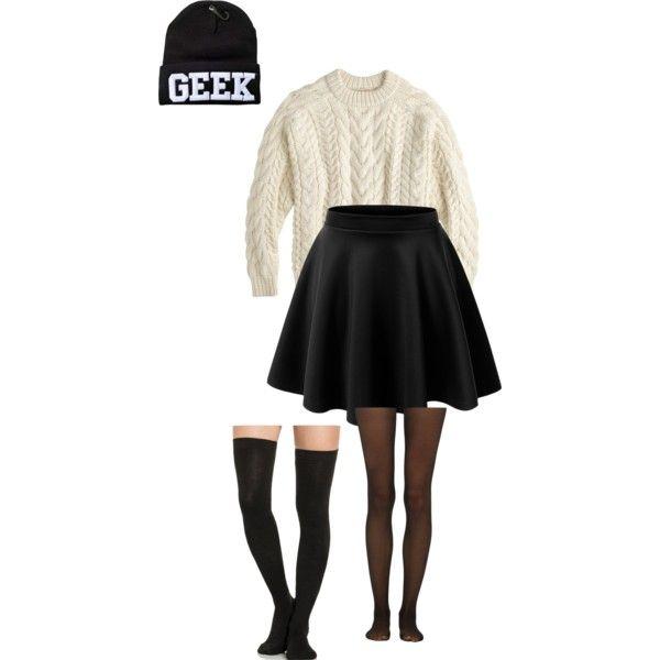light taupe sweater, black skater skirt, black tights, black thigh high socks, black beanie