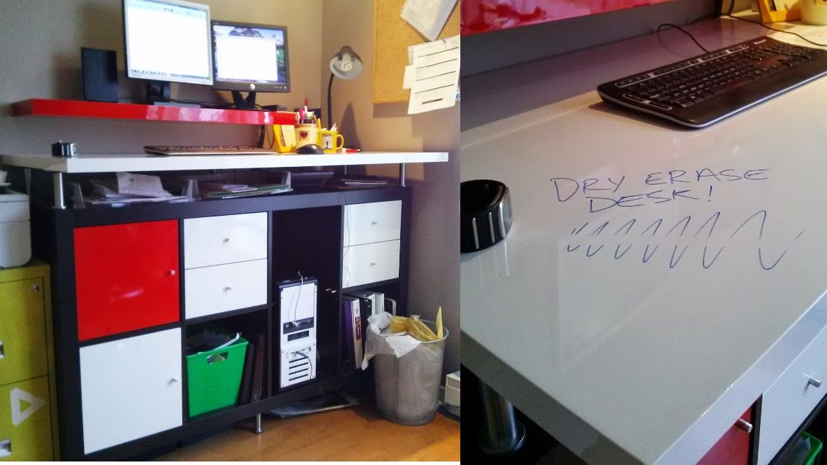 Create A Dry Erase Standing Desk With Built In White Board | Lifehacker  Australia