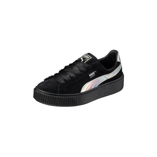 Puma Basket Platform Velvet Sneakers ($145) ❤ liked on