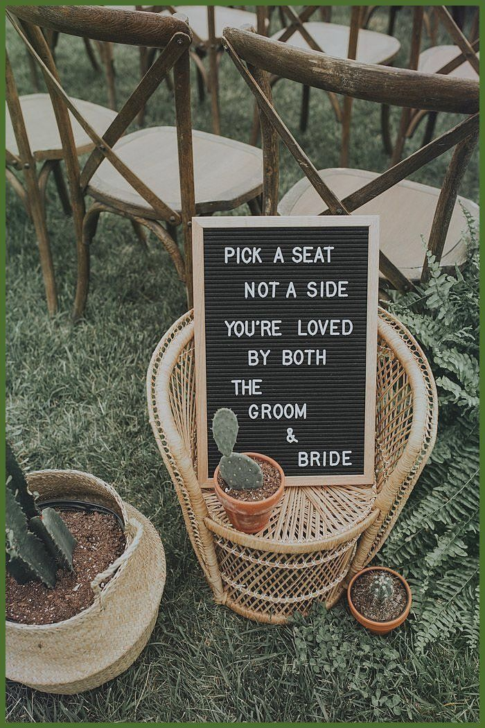 Unique and Creative Woodsy Bohemian North Carolina Marriage ceremony at The Cabin Ridge Ceremony marriage ceremony signage ins