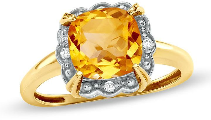 Zales 6.0mm Cushion-Cut White Topaz and Diamond Accent Framed Birthstone Ring in 10K Gold Z4LbBo2