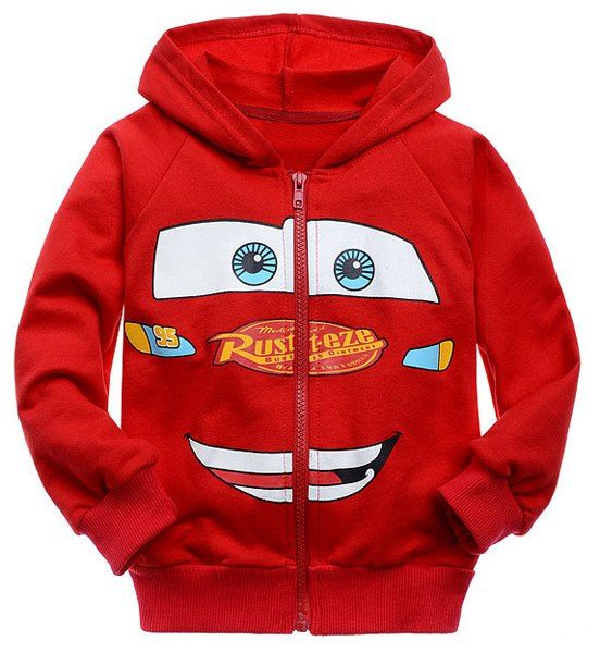 Fashionable Long Sleeve Face Pattern Zip Up Hoodie For Boys