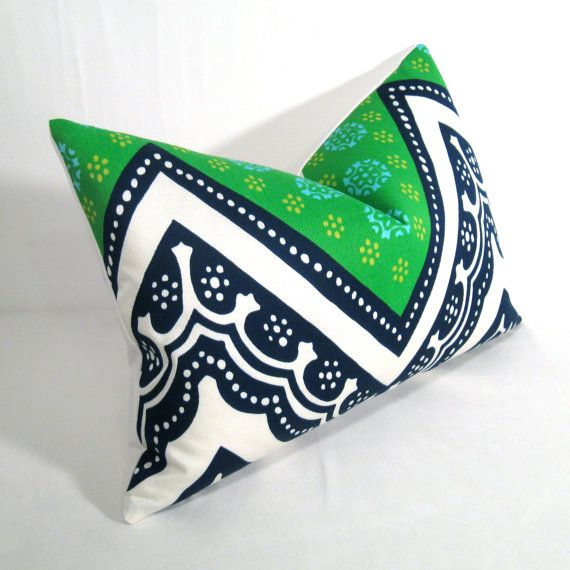 Decorative Trina Turk Pillow Cover Blue Green Outdoor Cushion