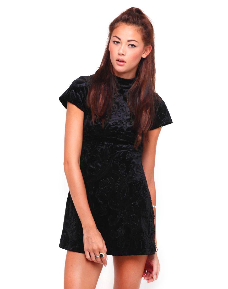 Motel lyndie turtleneck dress in stamped velvet black dresses
