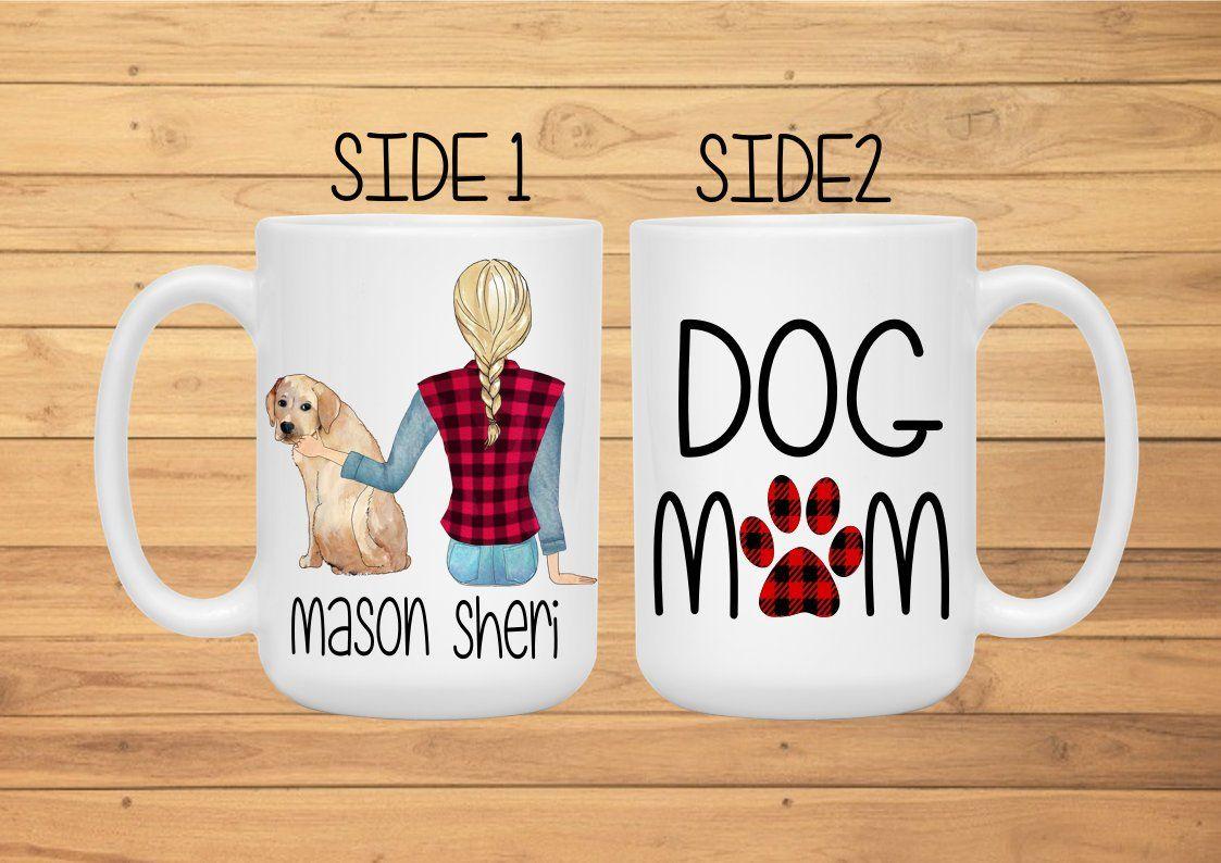 Mom and Dog Mug, Dog Mom Mug, Buffalo Plaid Mug, Mom Mug