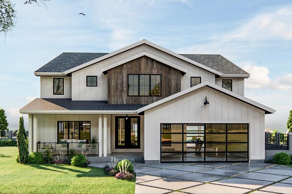Plan 62804dj 3 Bed New American House Plan With Exposed Beamed Entryway In 2020 American Houses Modern Farmhouse Plans Architecture House