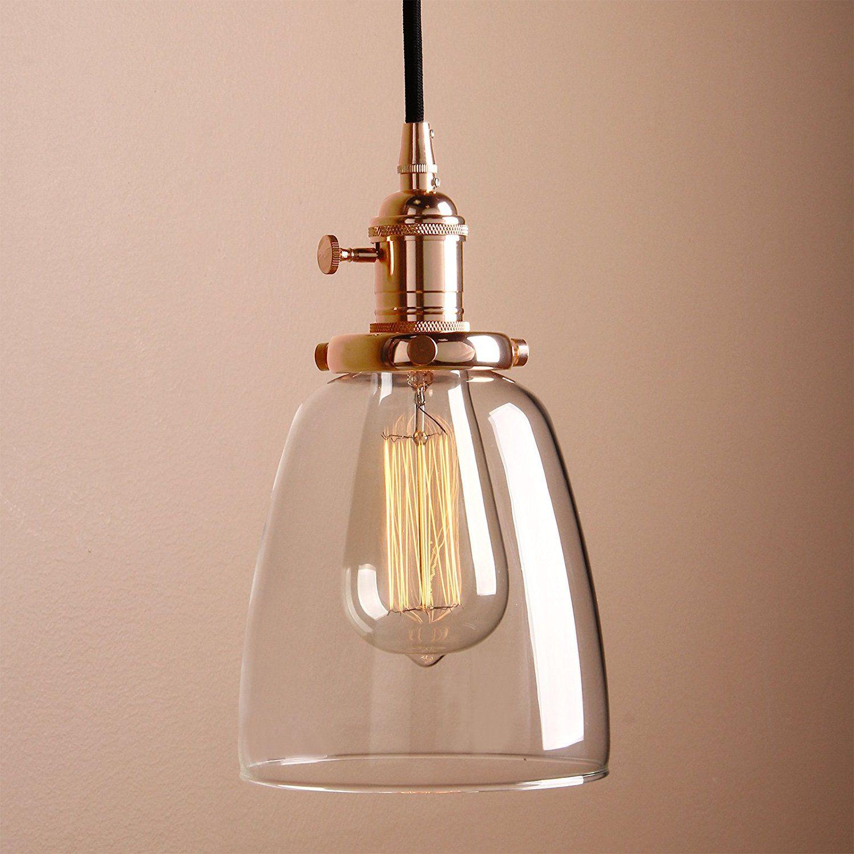 Pathson Industrie Loft-Pendelleuchte Antik Deko Design Klar Glas ...