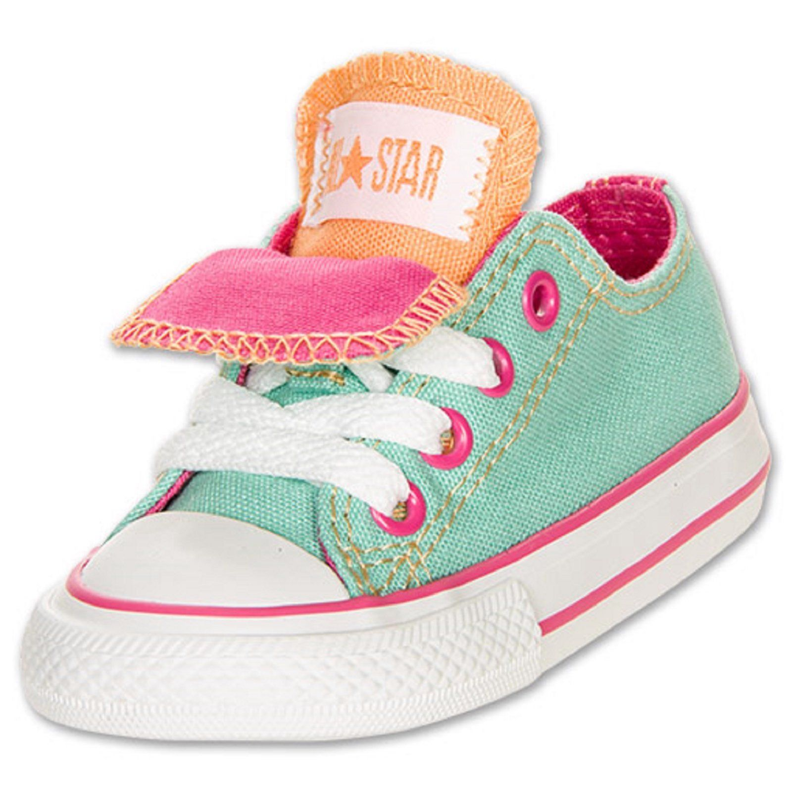 c2a88e94d07206 Baby Girls Shoes Converse Chuck Taylor Double Tongue Ox Toddler Sizes Aqua  Pink