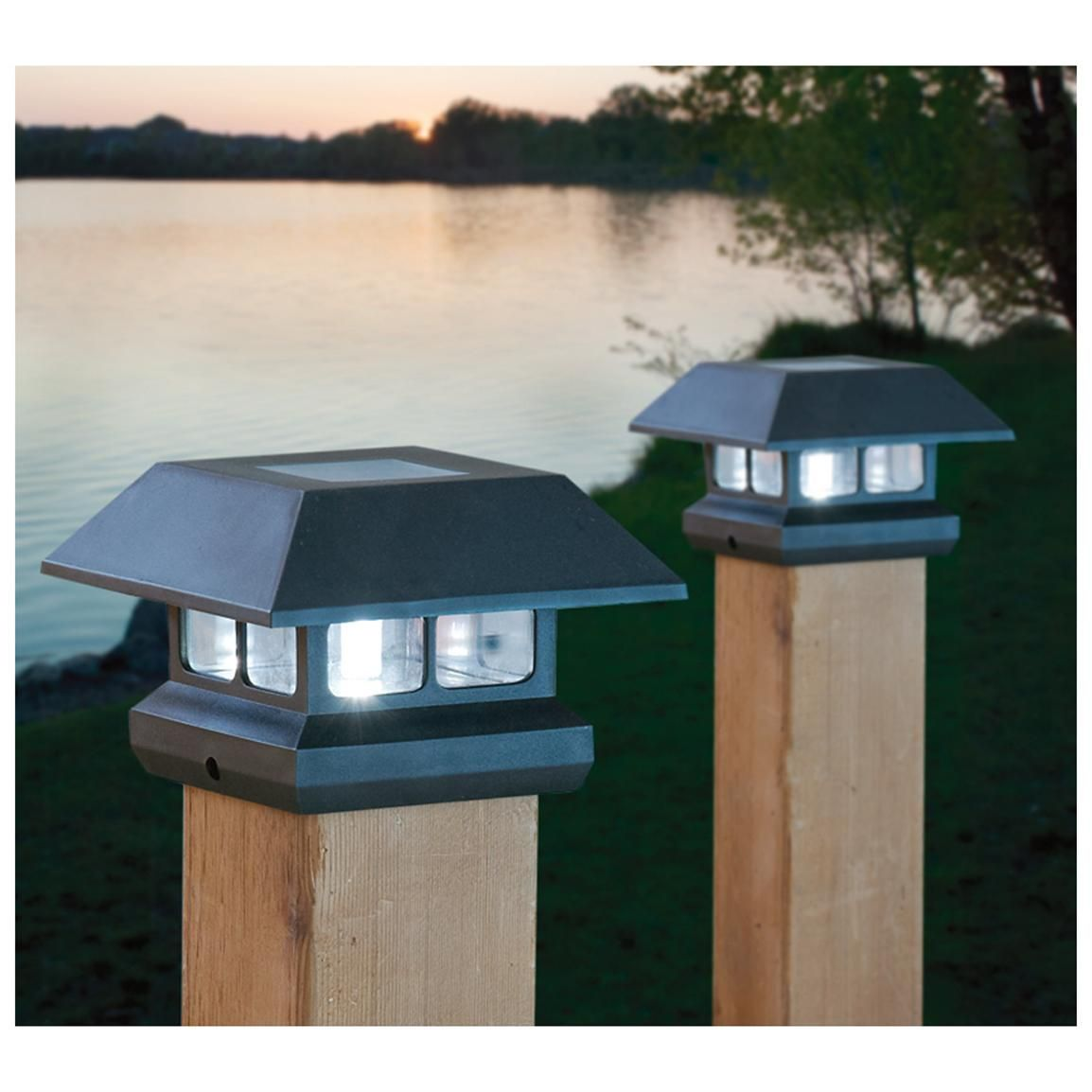 2 CASTLECREEK® Solar Post Lights. A bright idea for your