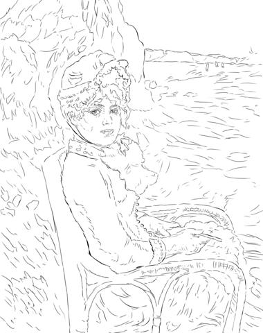 A La Orilla Del Mar De Pierre Auguste Renoir Dibujo Para Colorear Dibujo Lineal Páginas Para Colorear Renoir
