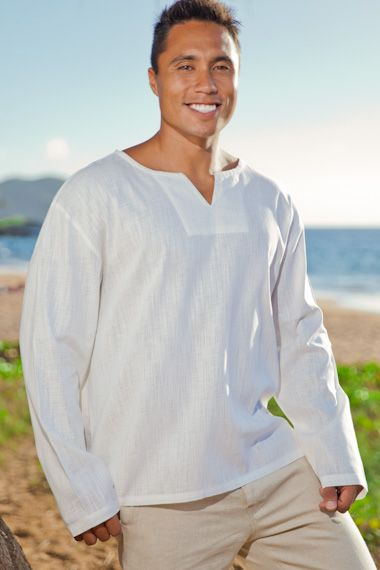 c8c21d5388f Gauze lanai shirt - Asian style pullover - natural - Island Importer