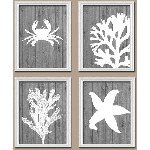 Nautical Beach Bathroom Wall Art Canvas Or Prints Ocean Bathroom... (46 CAD