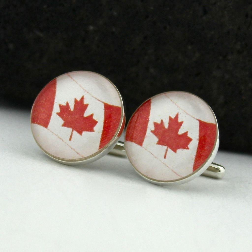 Canada sterling silver cufflinks canadian flag cufflinks
