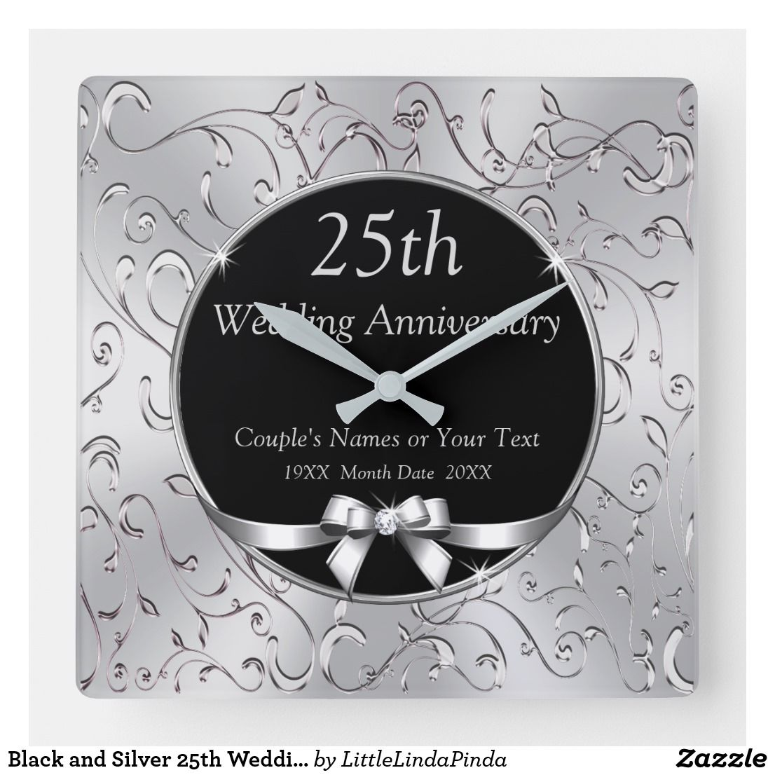 Black And Silver 25th Wedding Anniversary Gifts Square Wall Clock Zazzle Com 25 Wedding Anniversary Gifts 25th Anniversary Gifts 25th Wedding Anniversary