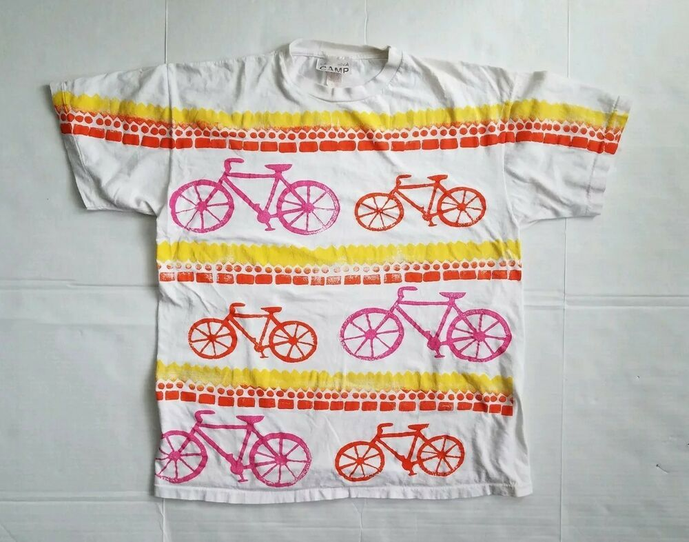 a8ab9ffe 80s 90s XL All Over Screen Print Bicycling Biking T Shirt Bike single  stitch #CaliforniaCamp #GraphicTee