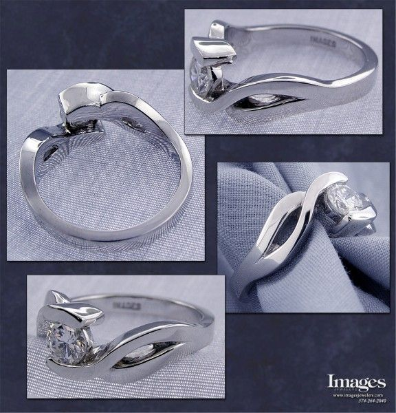 The open space and flowing design make this engagement ring truly unique and distinctive. Crafted in 14k x-1 white gold, this ring will never need rhodium plating