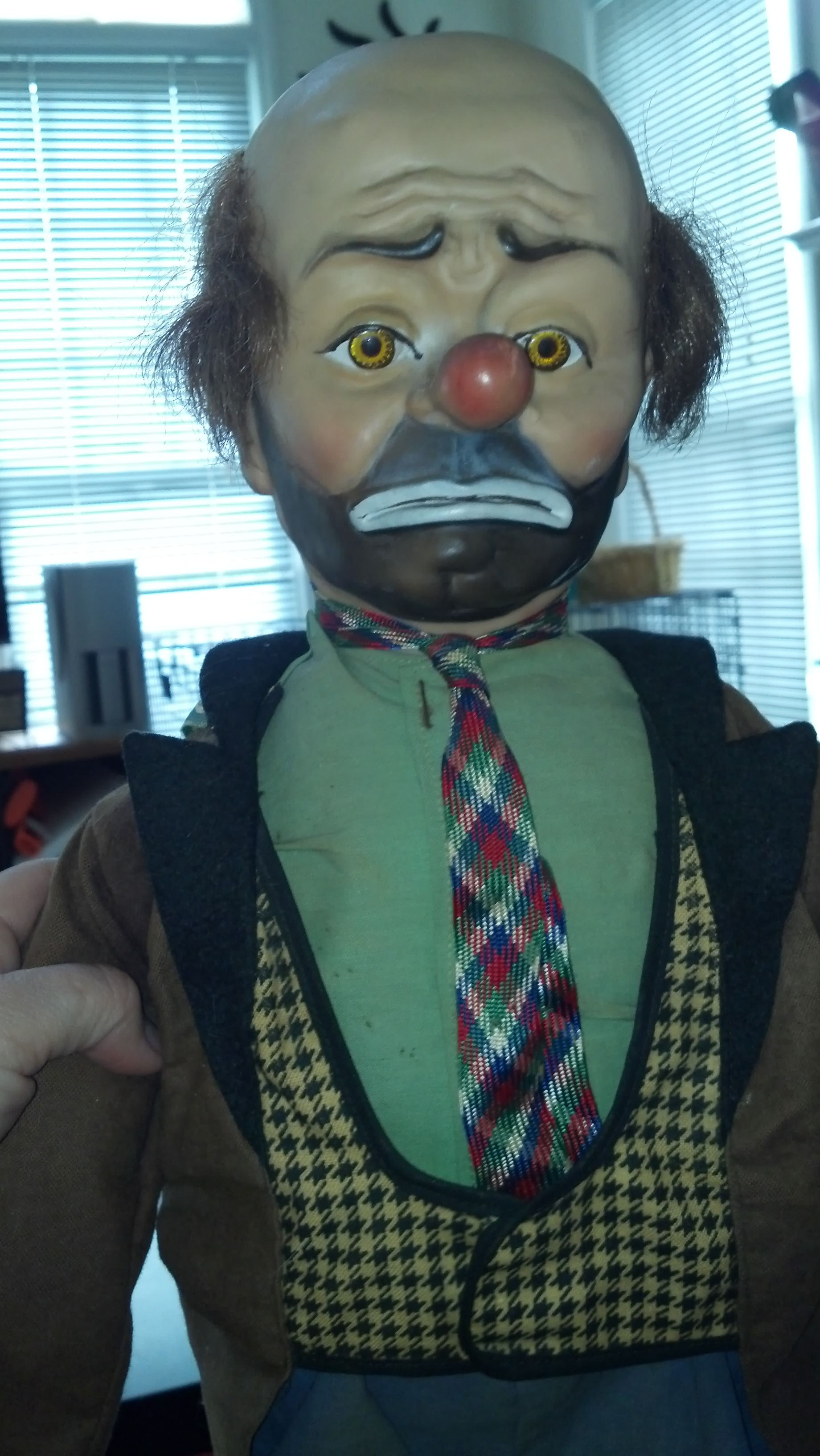 Vintage handmade Emmett Kelly clown doll mask head in wood and glass shadow  box