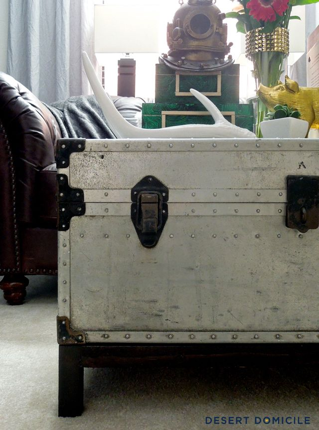 Winter pinterest challenge diy trunk coffee table trunk for How to turn a trunk into a coffee table