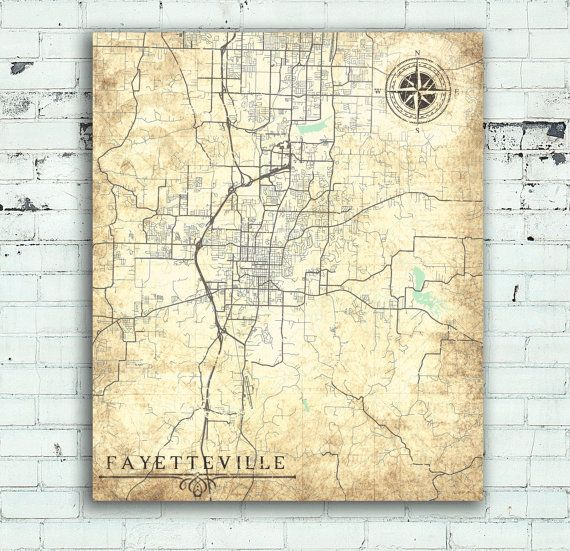 FAYETTEVILLE Arkansas Vintage Map Fayetteville City Arkansas - United states map arkansas