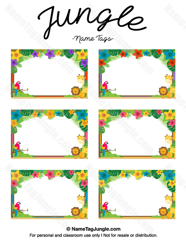 Po Name Badge Template | Free Printable Jungle Name Tags The Template Can Also Be Used For