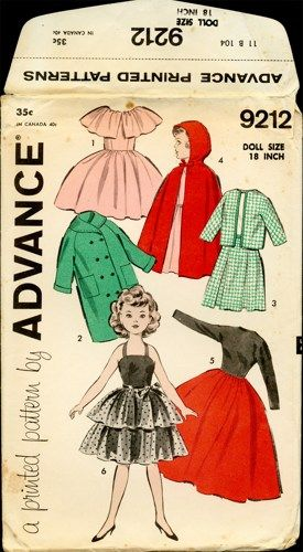 """Vintage 1950s Advance 18"""" Doll Clothes Sewing Pattern  Even the dolls get in on fifties style!"""