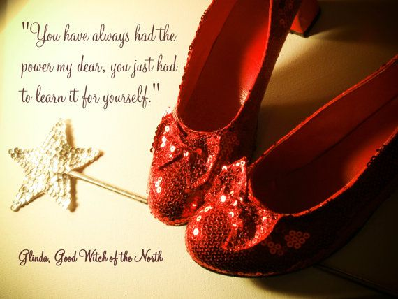 Red Ruby Slippers Silver Wand Typography Photograph