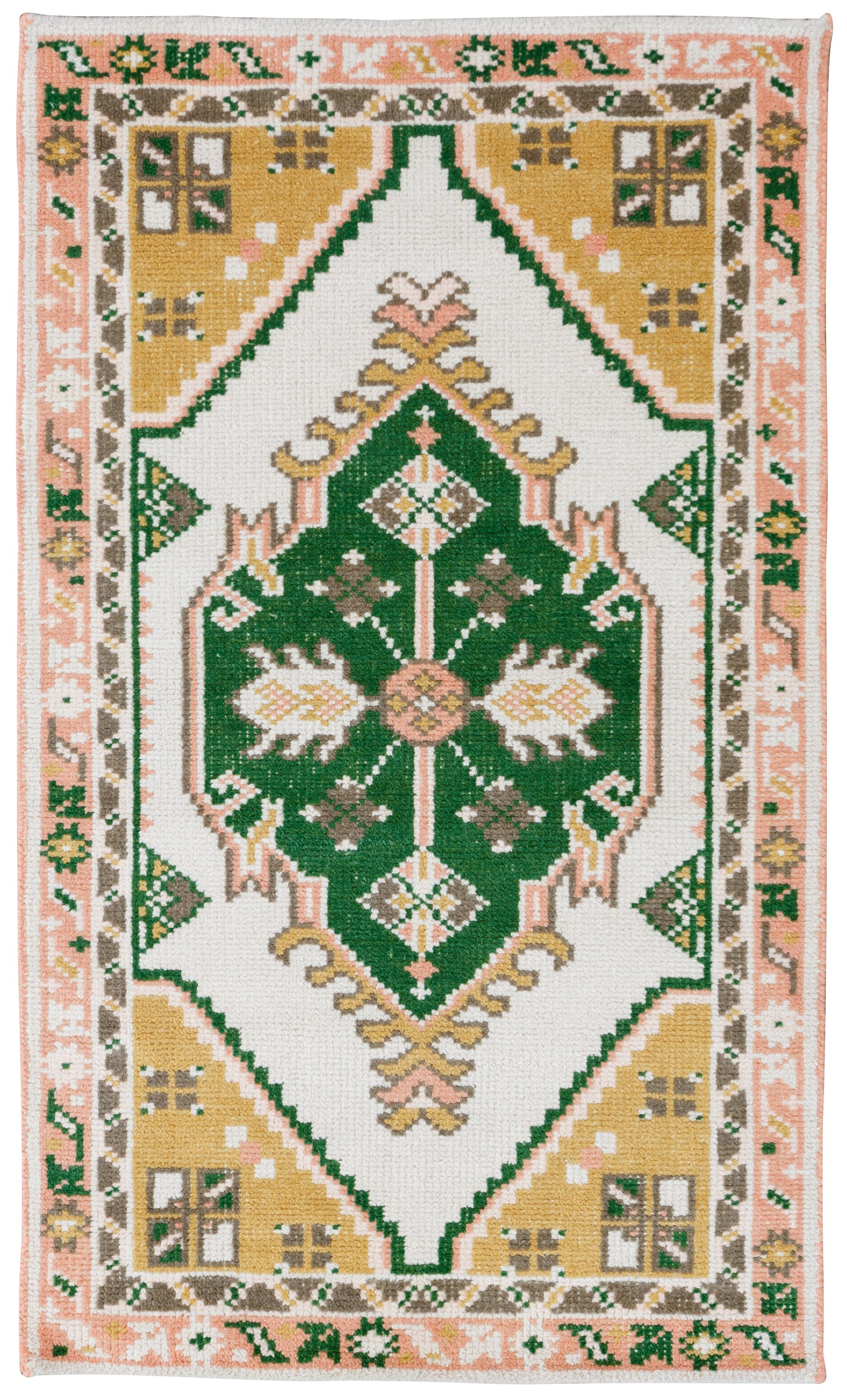 Traditional Meets Boho With Our Exclusive Phoenix Rug The Faded Soft Pink Gold And Deep Forest Green Colors Can Be Paired Floor Pillows Seagr