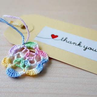 Flower crocheted tag