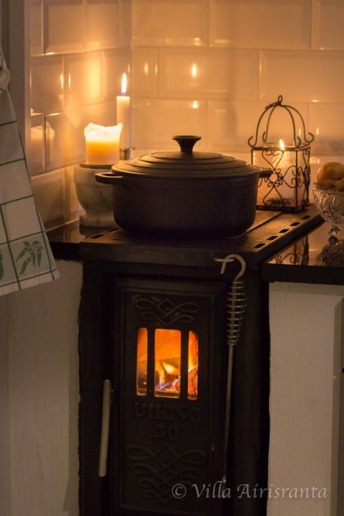 How Pretty This Is A Small Wood Burning Stove In The Kitchen