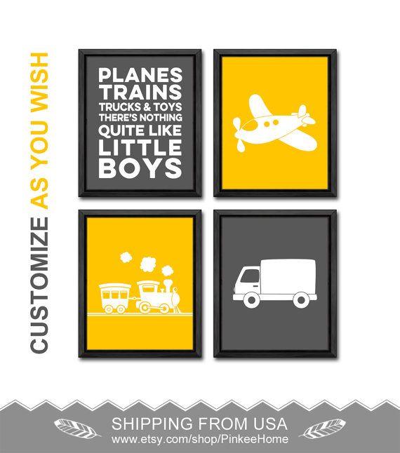 yellow gray plane train truck nursery prints truck baby decor train ...